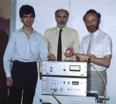 The Sheffield group with the stimulator that first achieved transcranial magnetic stimulation, February 1985. From left to right: Reza Jalinous, Ian Freeston and Tony Barker.